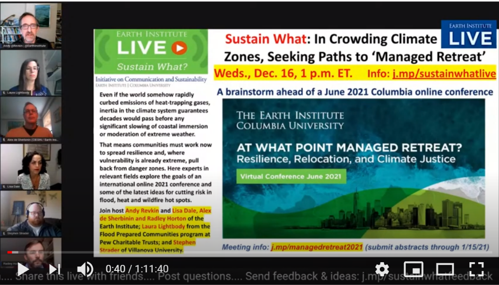 Screenshot of webinar page, featuring six panelists and the title 'Sustain What: In Crowding Climate Zones, Seeking Paths to 'Managed Retreat'